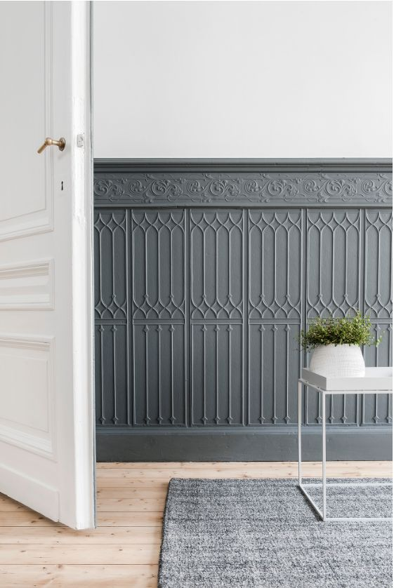 wainscoting, chair rail, minimalist, panel moulding, panel molding, trim,