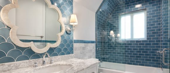 Bold Blue Bathroom With HandPainted Fireclay Tiles Habitar Custom Bathroom Renovation Chicago Painting