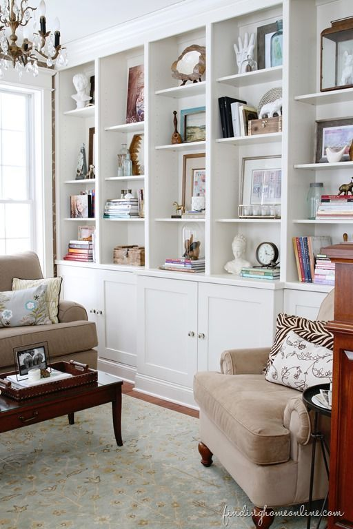 builtin, built in, cabinetry, shelving, open shelving, built in shelving, bookcase, bookcase styling