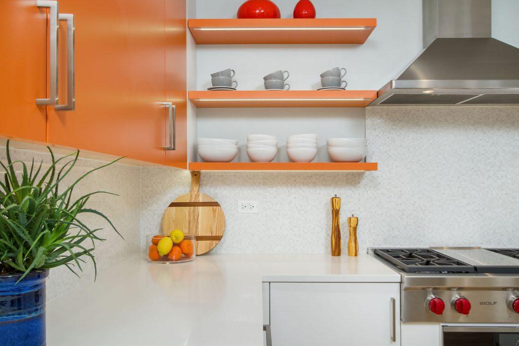 orange, orange interior design, orange cabinetry, orange wall, custom cabinetry, kitchen remodel, kitchen design, habitar design, hannah tindall