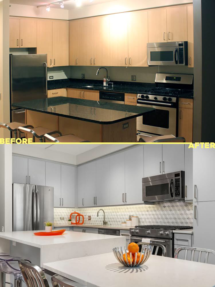 Image of painted kitchen with new backplash, countertops and additional cabinetry to show total transformation with value maximized