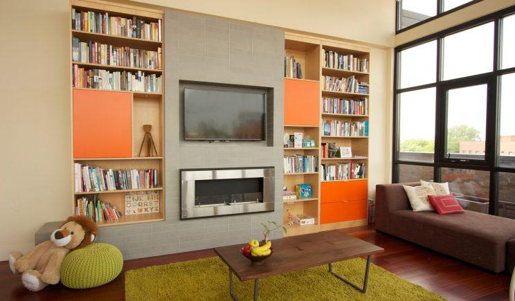Custom Fireplace, built-in construction , Habitar Design, Interior Design Chicago