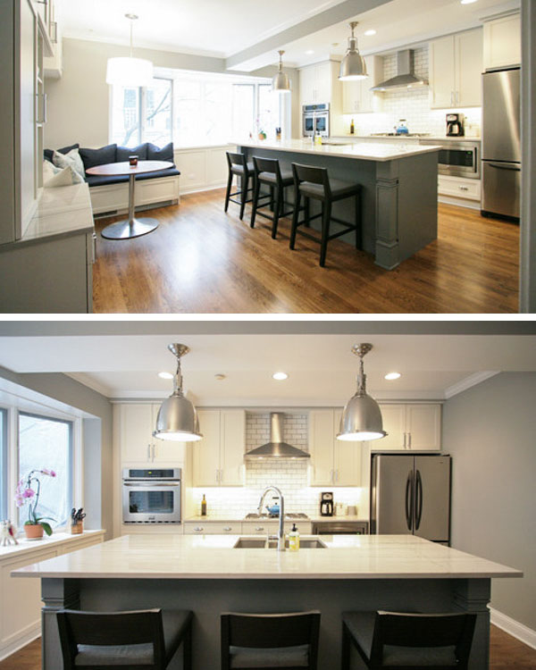 Kitchen Island interior design with an extended overhang