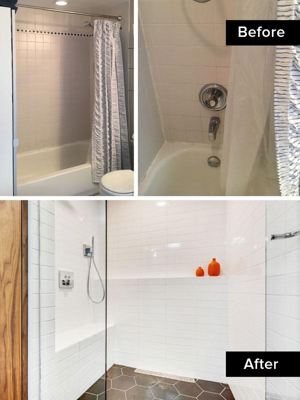 walk-in shower, bathroom remodel