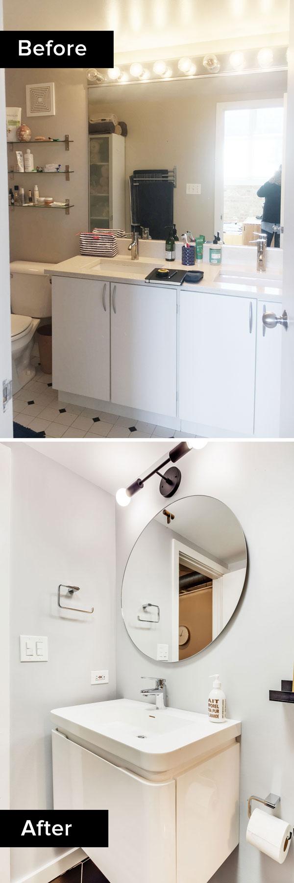 before and after bathroom remodel, Chicago interior designer