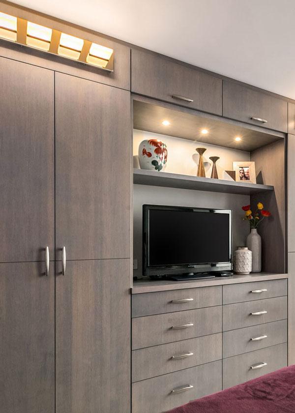 built-in organization wall, bedroom interior design
