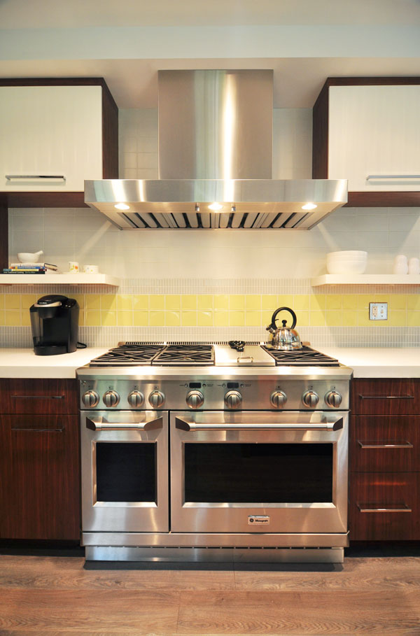 modern kitchen range and hood