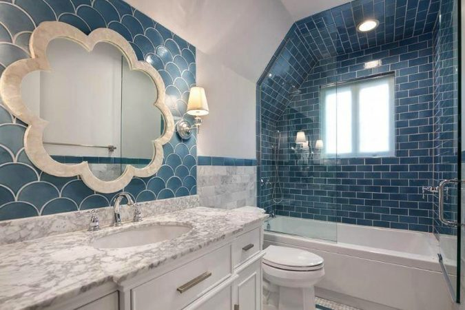 bright blue bathroom tile